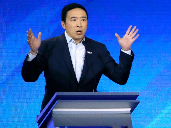 In this Feb. 7, 2020 file photo, then-Democratic presidential candidate entrepreneur Andrew Yang speaks during a Democratic presidential primary debate at Saint Anselm College in Manchester, N.H.
