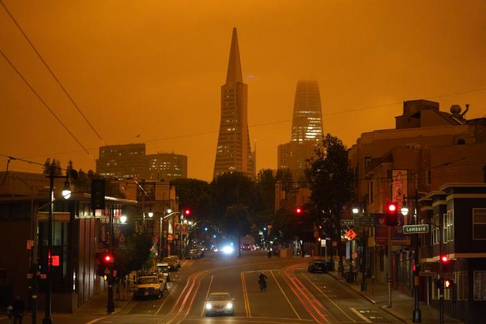 The dark orange sky above San Francisco.