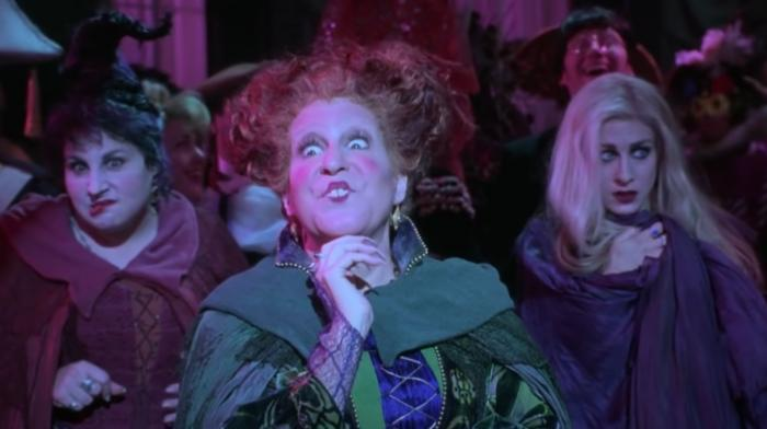 """Kathy Najimy, left, Bette Midler, center, and Sarah Jessica Parker, right, in a scene from """"Hocus Pocus."""""""