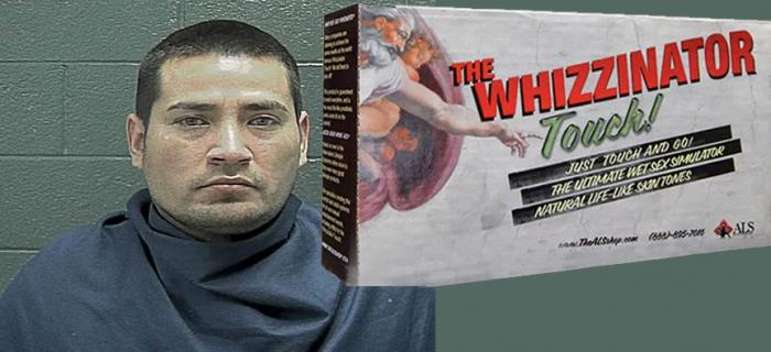 "Francisco Gutierrez and a photo of ""The Whizzinator"""