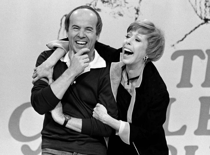 Carol Burnett, right, shares a laugh with Tim Conway during a taping of her final show on March 19, 1978, in Los Angeles.