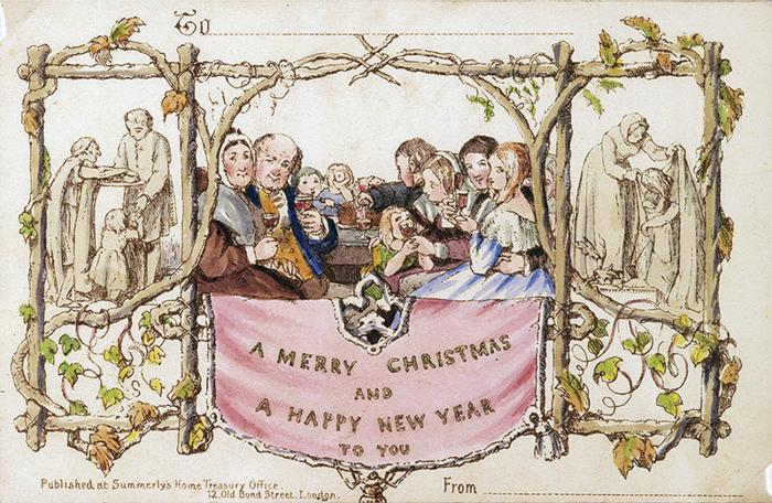 The first commercially printed Christmas card is up for sale — a merry Victorian-era scene that scandalized some who denounced it as humbug when it first appeared in 1843.