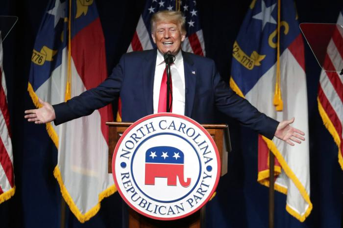 Former President Donald Trump speaks at the North Carolina Republican Convention in Greenville, N.C.